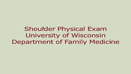 Shoulder Physical Exam