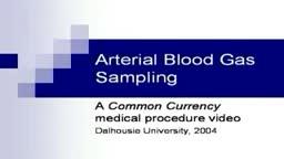 Arterial Blood Gas Sampling Technique Video