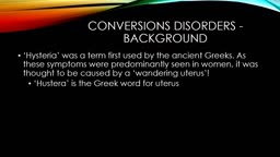 Conversion disorders