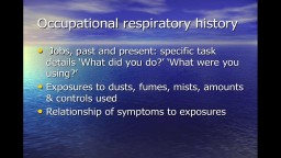 Occupational Respiratory Disease